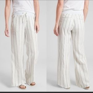 Athleta Cabo Linen Wide Leg Pant NWOT Ivory Stripe